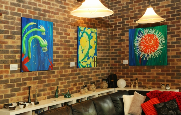 Pottery and acrylic paintings