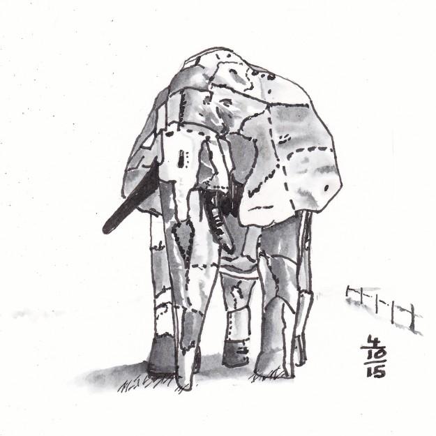 The Elephant In The Wheatfield - Inktober 4