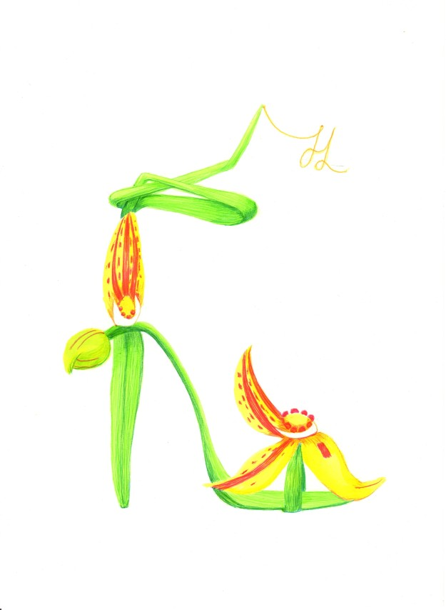 Native Cowslip Orchid Fantasy Shoe by Helen Lock