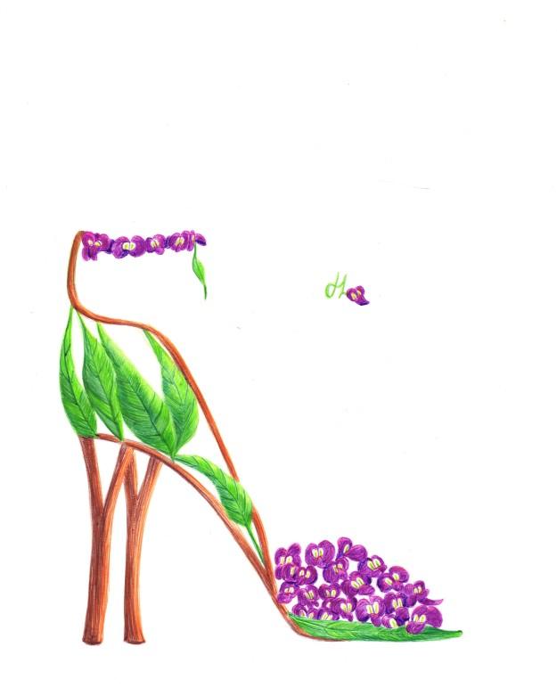 Flower Shoe Art - Native Wisteria - Biro