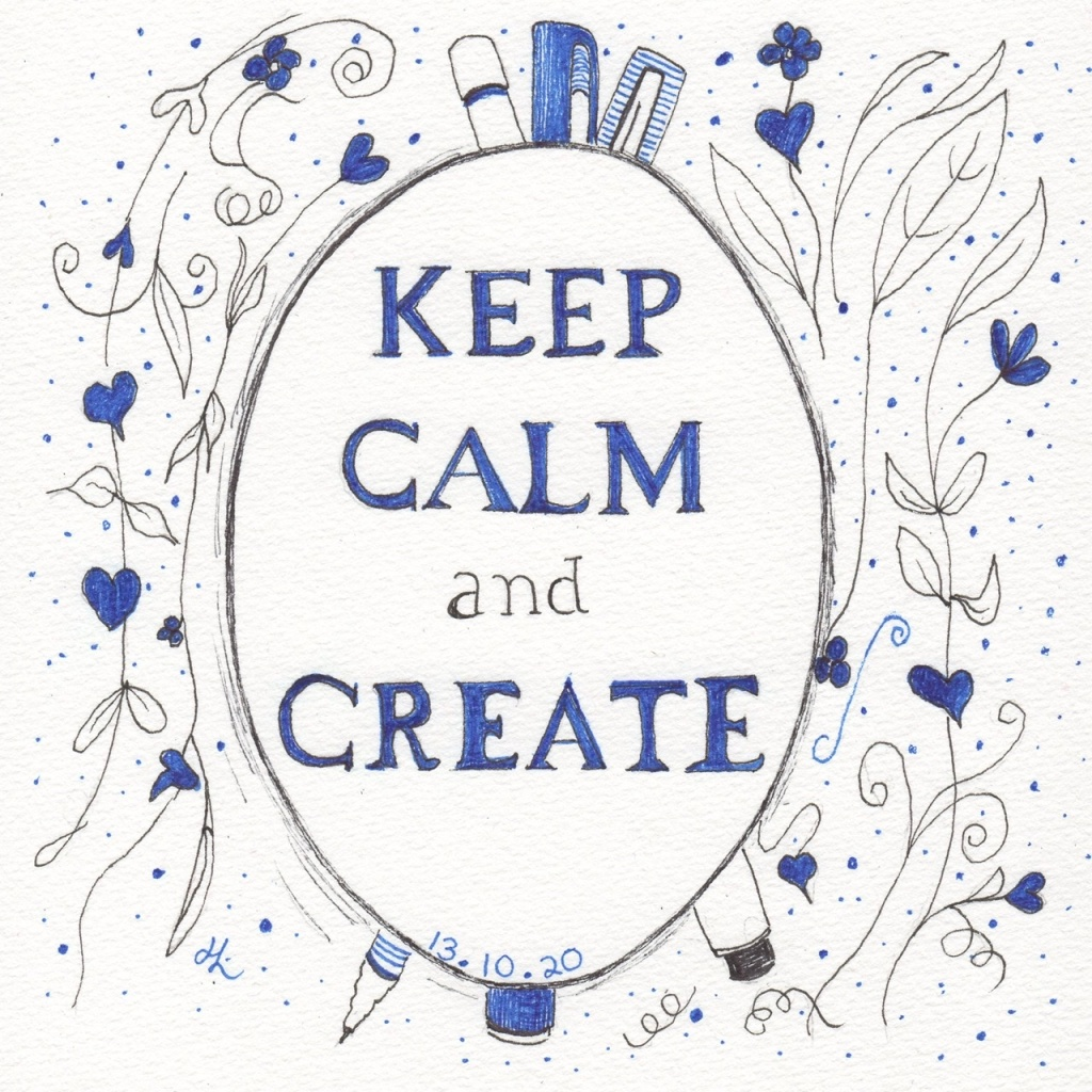 Keep Calm and Drink Champagne or Keep Calm and Create - maybe both?! #Inktober2020 Day 13 Helen Lock