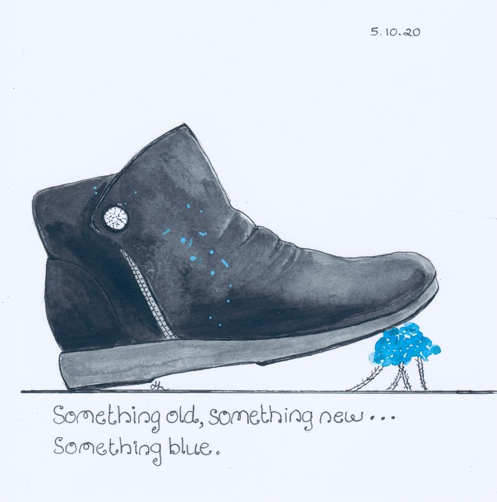 Old boot, new soles, blue paint, Blue Leschenaultia - #Inktober2020 - Helen Lock
