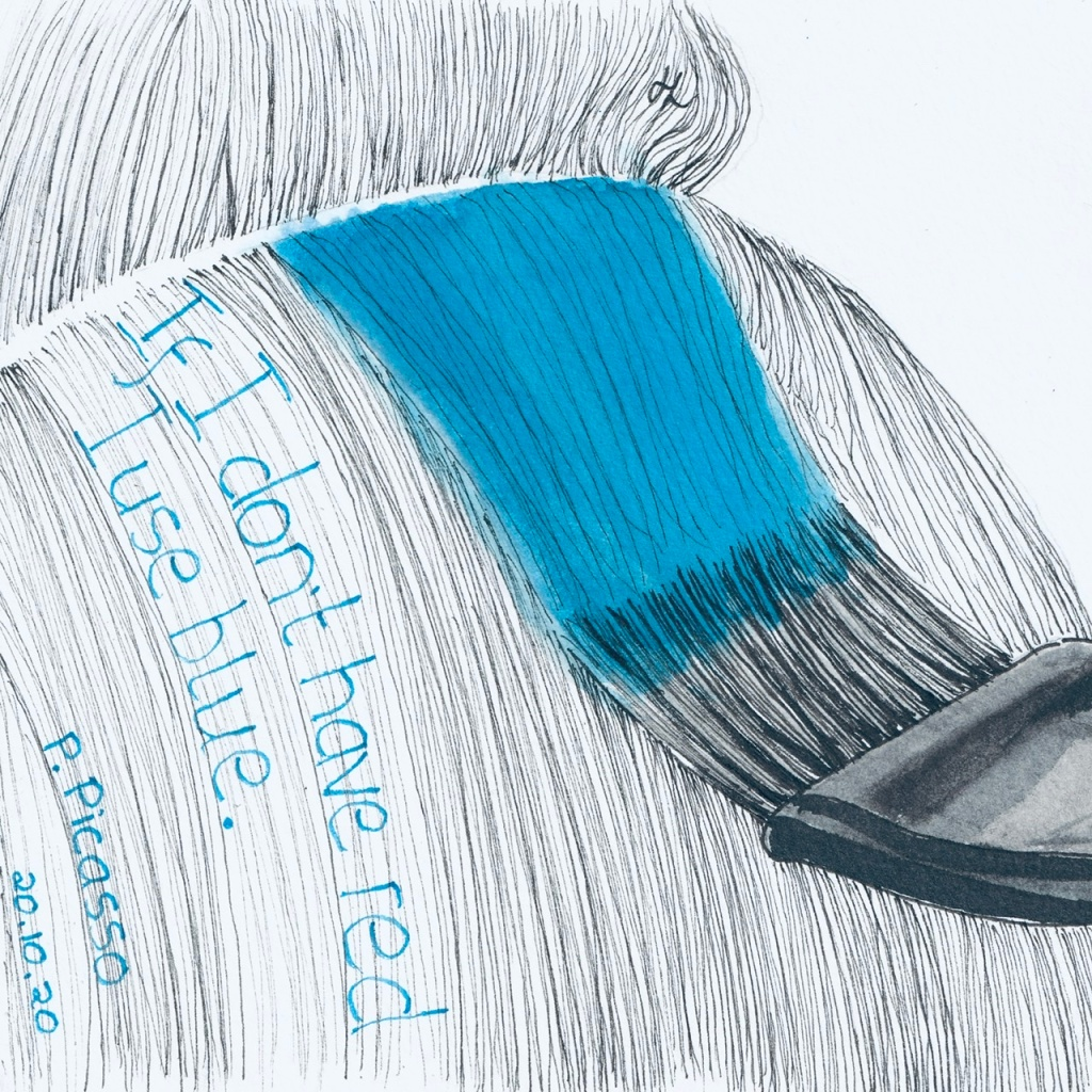 If I don't have red I use blue.  Pablo Picasso.  #Inktober2020 Day 20  Helen Lock Western Australian artist. Day 20 I prepared for the AFL footy final weekend, which included colouring my hair.