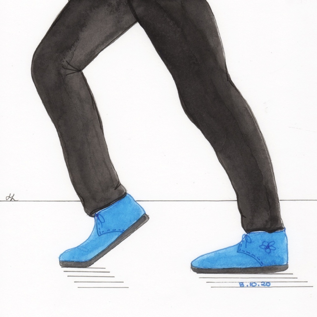 Line dancing to Billie Jean - wishing for Blue Suede Shoes.  Western Australian artist Helen Lock