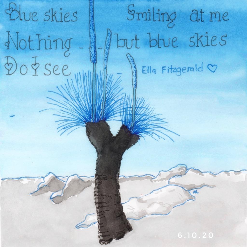 Blue Skies Smiling At Me - Xanthorhoea trimming - Helen Lock - #Inktober2020 Day 6